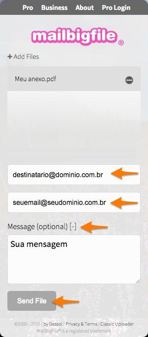 Como enviar e-mail com anexos grandes