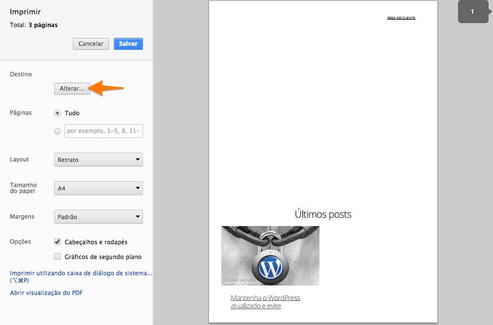 Gerar um PDF no Google Chrome